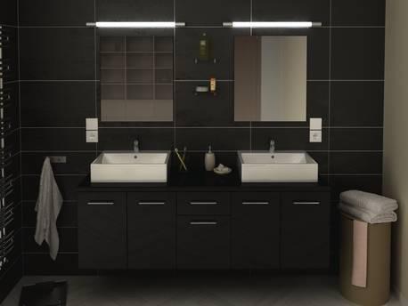 """Meuble de salle de bain - """"Orelia"""" - 150 cm - Noir"""