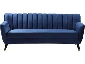 """Canapé fixe en velours """"Nancy"""" - 196 x 81 x 80 cm - 3 Places - Bleu"""