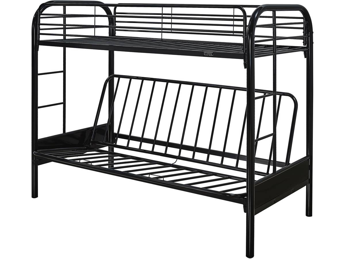 lit mezzanine polo 90 x 190 cm noir 85566. Black Bedroom Furniture Sets. Home Design Ideas