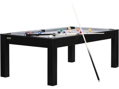 """Billard """"Allen"""" - 213 x 120 x 0.79 - Convertible en table à manger (8 personnes) - Noir avec tapis gris"""