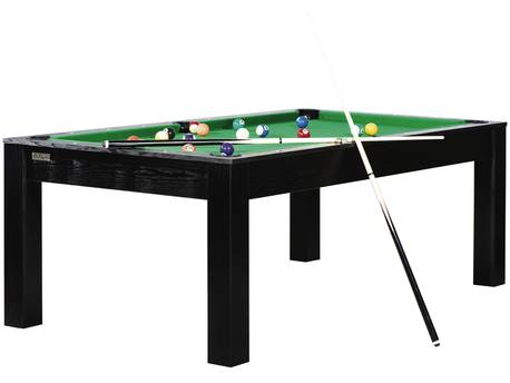 "Billard ""Eliott"" - 213 x 120 x 79 cm - Convertible en table à manger (8 personnes) - Noir avec tapis vert"