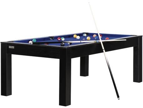 """Billard """"Eva"""" - 213 x 120 x 79 cm - Convertible en table à manger (8 personnes) - Noir avec tapis bleu"""