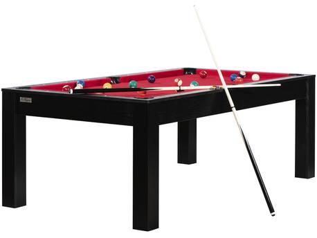 """Billard """"Justine"""" - 213 x 120 x 79 cm - Convertible en table à manger (8 personnes) - Noir avec tapis rouge"""