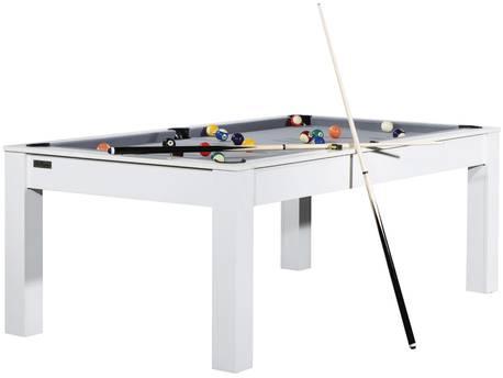 """Billard """"Luna"""" - 213 x 120 x 79 cm - Convertible en table à manger (8 personnes) - Blanc avec tapis gris"""