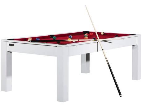 """Billard """"Thomas"""" - 213 x 120 x 79 cm - Convertible en table à manger (8 personnes) - Blanc avec tapis rouge"""