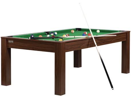 """Billard """"Erica"""" - 213 x 120 x 79 cm - Convertible en table à manger (8 personnes) - Wengé avec tapis vert"""