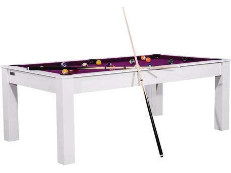 """Billard """"Lorie"""" - 213 x 120 x 79 cm - Convertible en table à manger (8 personnes) - Blanc boisé avec tapis prune"""