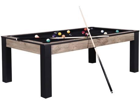 """Billard """"Mario"""" au design industriel - 213 x 120 x 79 cm - Convertible en table à manger (8 personnes)"""