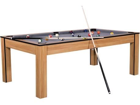 """Billard """"Tina"""" - 213 x 120 x 79 cm - Convertible en table à manger (8 personnes) - Hêtre avec tapis gris"""