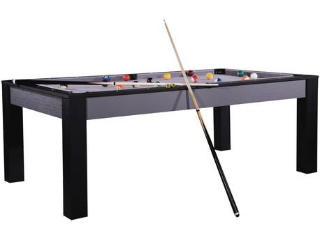 """Billard """"Tina"""" - 213 x 120 x 79 cm - Convertible en table à manger (8 personnes) - Gris et noir avec tapis gris"""