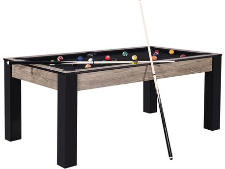 "Billard ""Estelle"" - 185 x 103 x 79 cm - Convertible en table à manger (6 personnes) - Design industriel"