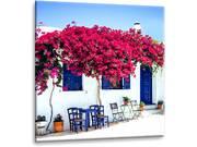"""Impression photo sur verre """"Maison fleurie grecque"""" - 30 x 30 cm"""