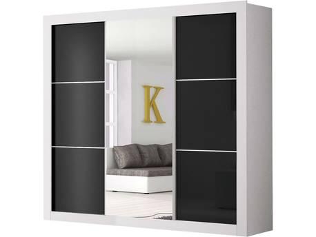 "Armoire ""Roma"" -  250 x 220 x69 cm -  3 portes - Noir / Blanc"