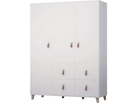 "Armoire 4S3D ""FIGO"" - 153 x 55 x 202 cm - Blanc"