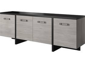 "Buffet ""Olen""- 220 x 77 x 50 cm  - Pin noir et gris clair"