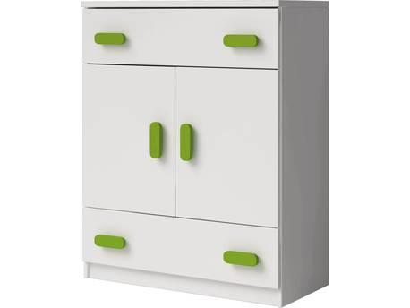 "Commode ""Smyk"" - 80 x 104 x 40 cm - Blanc/Vert"