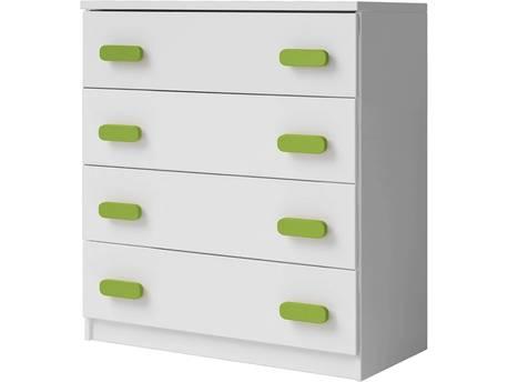 "Commode ""Smyk"" - 80 x 93 x 40 cm - Blanc/vert"