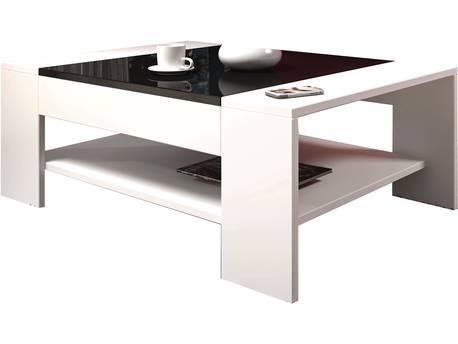 "Table basse ""FRANCO"" - 100 x 45 x 70 cm - Blanc/Noir brillant"