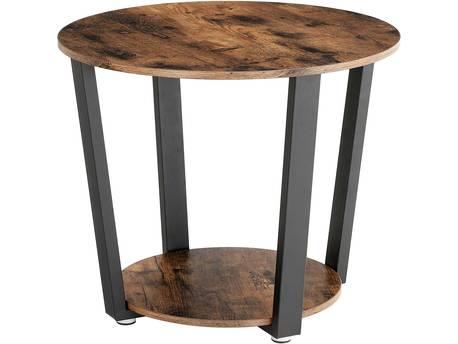 """Table basse """"ronde"""" avec structure en acier - 50 x 50 x 57 cm -  marron rustique/noir"""