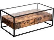 Table basse  Wooden  - 106 x 57 x 45 cm - Brun rustique/noir