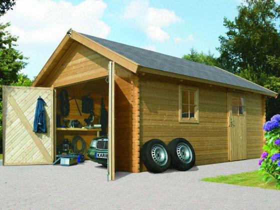 garage bois karibu m x x m. Black Bedroom Furniture Sets. Home Design Ideas