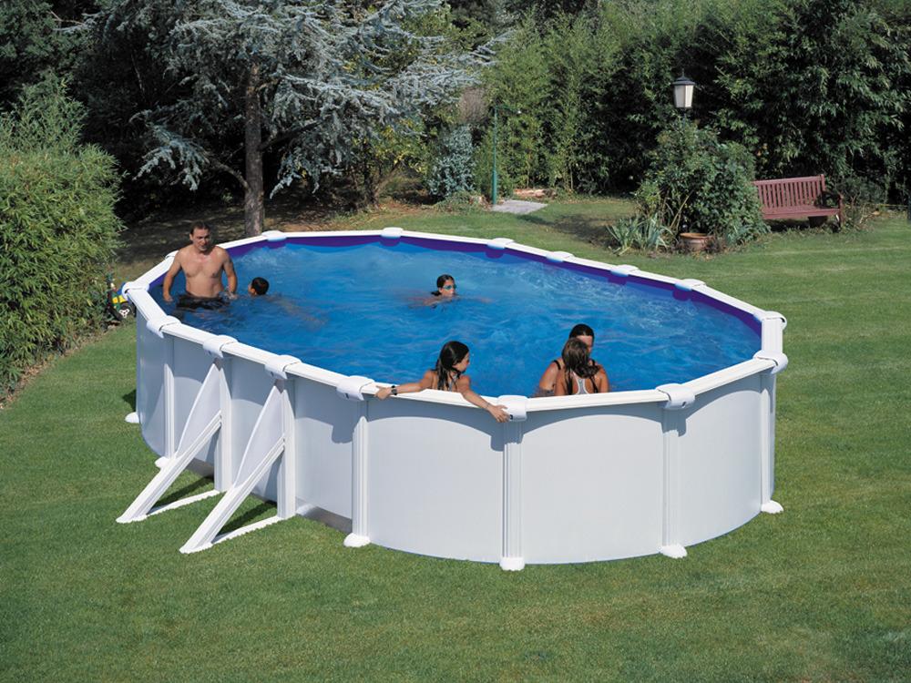 Kit piscine ovale acier blanche bora bora x for Piscine hors sol acier liner 75 100