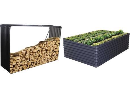 Abri bûches/Carre potager - 2,75m² - 110 x 180 x 52 cm - Gris
