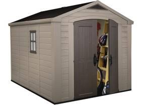 """Abri jardin résine """"Sydney 811"""" - 8.5 m² - 256.5 x 332 x 243 cm - Marron et beige"""