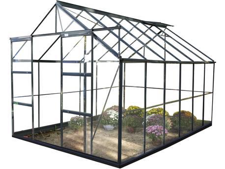 "Serre jardin verre trempé ""Sekurit"" - 8.9 m² - 244 x 264 x 224 cm - Anthracite"