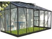 """Serre jardin verre trempé """"Solarium"""" - 7.2 m² - 380 x 190 x 240 cm - Anthracite"""