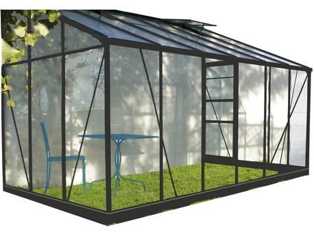 """Serre jardin verre trempé """"Solarium"""" - Anthracite"""