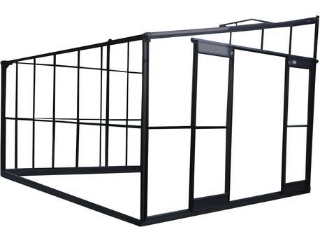 """Serre jardin verre trempé """"Solarium"""" - 9.6 m² - 506 x 190 x 240 cm - Anthracite"""
