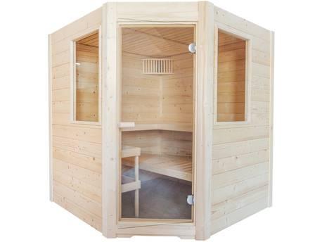"""Sauna finlandais classique """"Basic Corner"""" - 195 x 187 x 204 cm - Bois"""