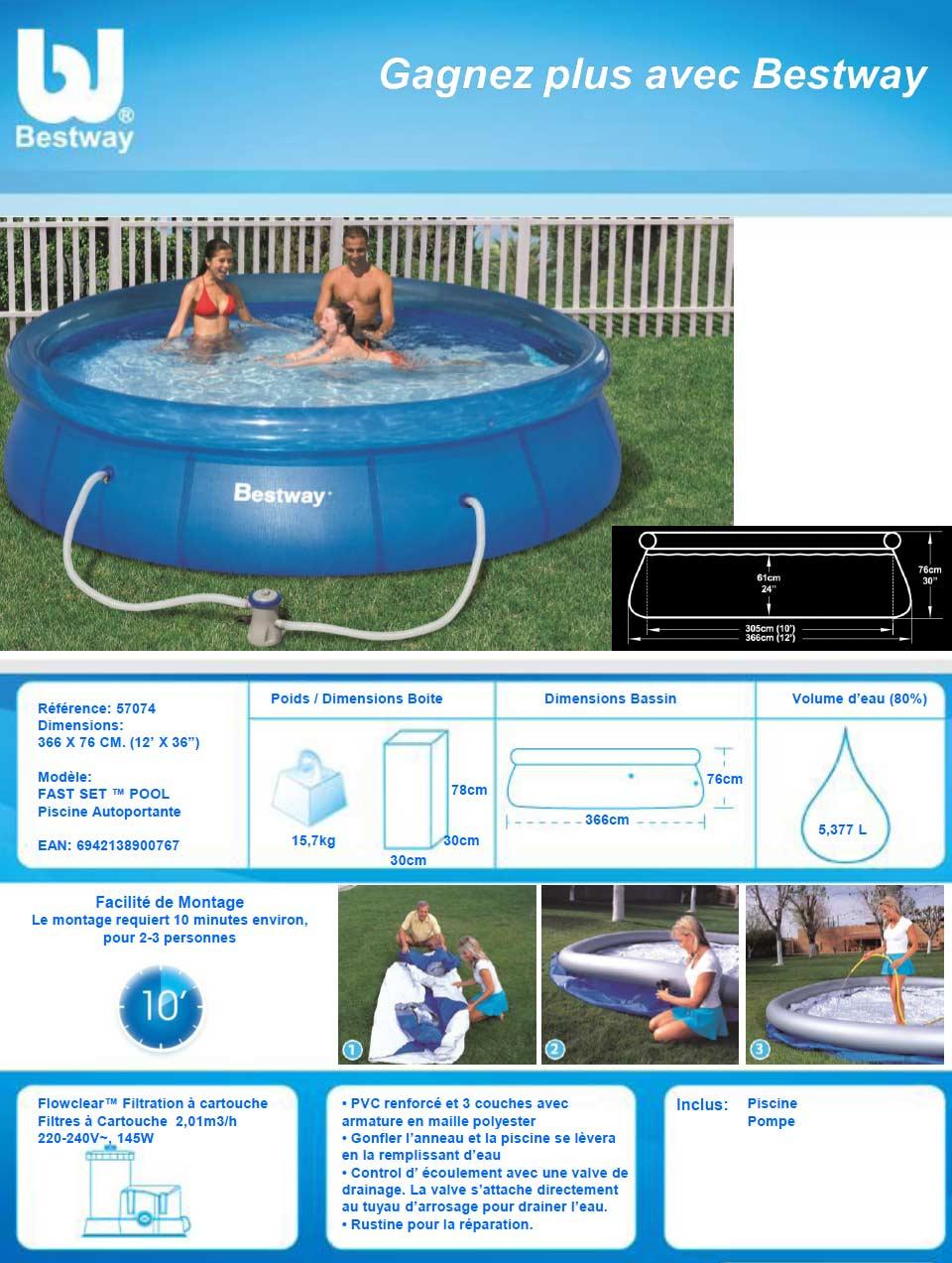 Fiche piscine autoportante Bestway
