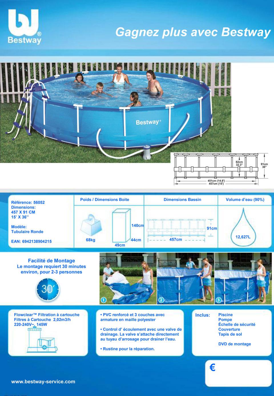 Fiche piscine autoportante 2.44 x 0.66m Bestway