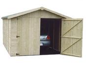 """Garage bois """" MALMO """" - 14.91 m² - 3.03 x 4.92 x 2.21 m - 15 mm"""
