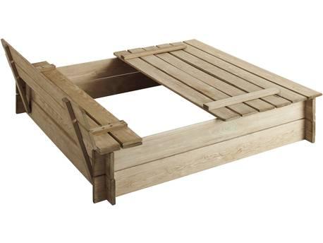 """Bac à sable bois """"Papillon"""" - 255 L - 120 x 120 x 26.8 cm - Avec bancs et couvercle"""