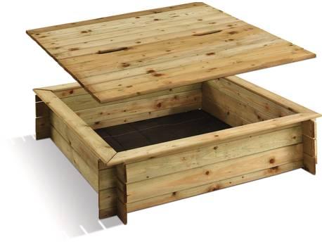 """Bac à sable bois """"Carré"""" - 220 L - 120 x 120 x 25 cm - Avec couvercle"""