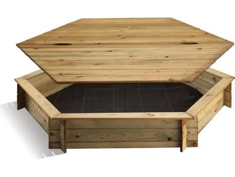 """Bac à sable bois """"Hexagonal"""" - 487 L - Ø 180 x H.25 cm - Avec couvercle"""