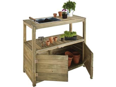Table de préparation - 100 x 45 x 90 cm - 2 portes + 1 étagère + 1 bac de préparation - Bois