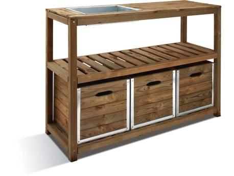 Table de préparation - 129 x 45 x 90 cm - 3 tiroirs + 1 étagère + 1 bac de préparation - Bois teinté marron