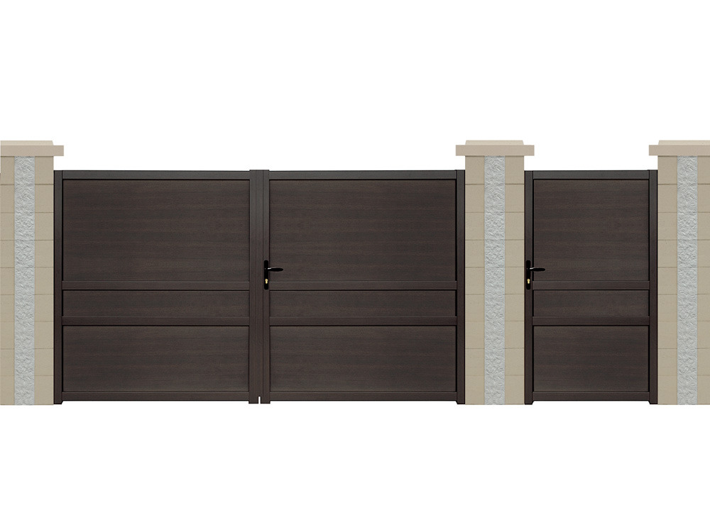 portail battant sterne aluminium aspect bois 3 m 61727. Black Bedroom Furniture Sets. Home Design Ideas