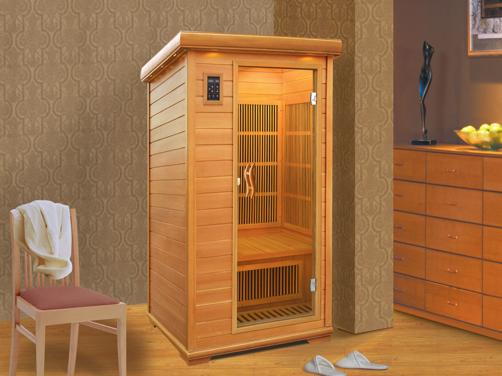 cabine de sauna infrarouge 1 personne 90 x 100 x 190 cm 46666 46667. Black Bedroom Furniture Sets. Home Design Ideas