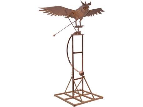 """Balancier chouette sur pied """"Rocker Owl XL"""" - 142 x 84 x 193 cm - Effet rouille"""