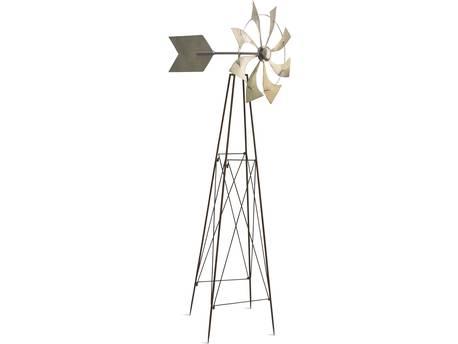 "Moulin à vent sur pied ""Windmill Rusty-Silver"" - 53 x 73 x 177 cm - Métal"