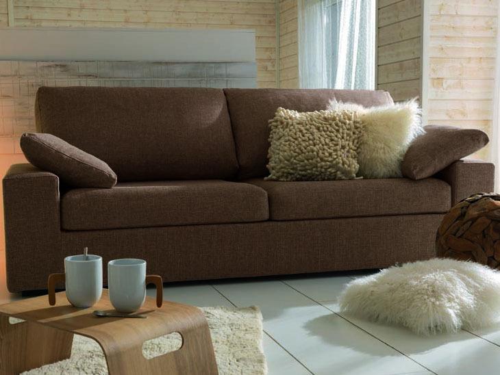 canap fixe tissu lola 3 places cana chocolat 24427. Black Bedroom Furniture Sets. Home Design Ideas