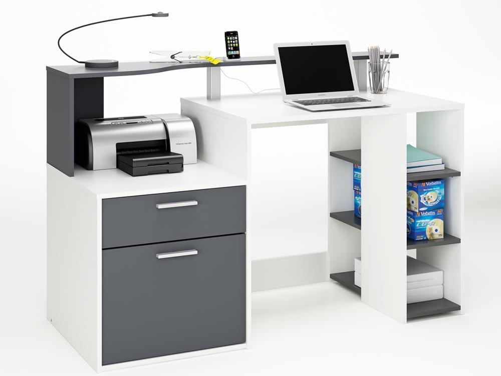 Bureau oracle mdf blanc gris 1 tiroir et 1 porte 57612 - Bureau gris et blanc ...