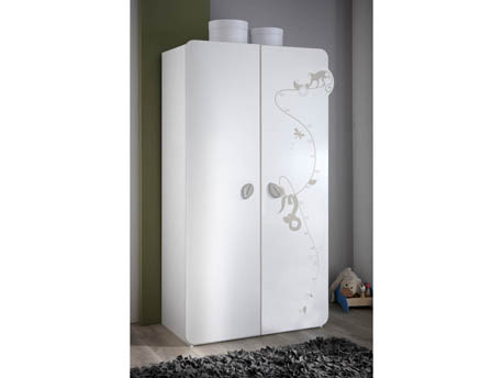"Armoire ""Jungle"" - 106 x 57 x 185 cm - Blanc"
