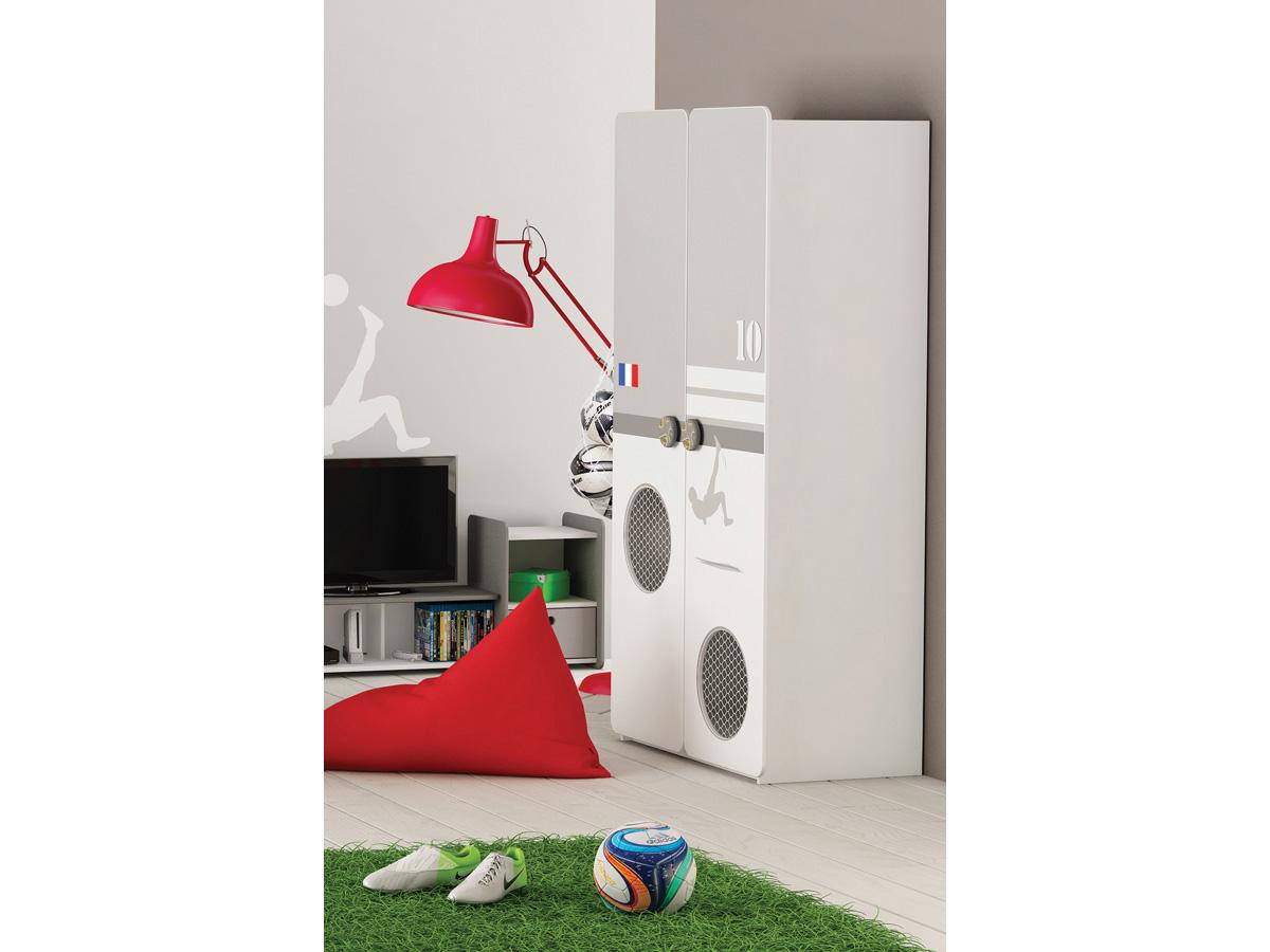 armoire foot 2 portes 96 5 x 51 5 x 184 6 cm blanc perle 80695. Black Bedroom Furniture Sets. Home Design Ideas