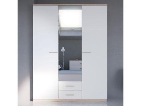 """Armoire 3 portes """"Selena"""" - 161.1 x 210.9 x 55 cm - Coloris Chêne brossé/Blanc perle"""